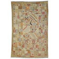 Southwestern Bohemian Vintage Afghani Shirvan Kilim Rug, Flat-Weave Tribal Rug