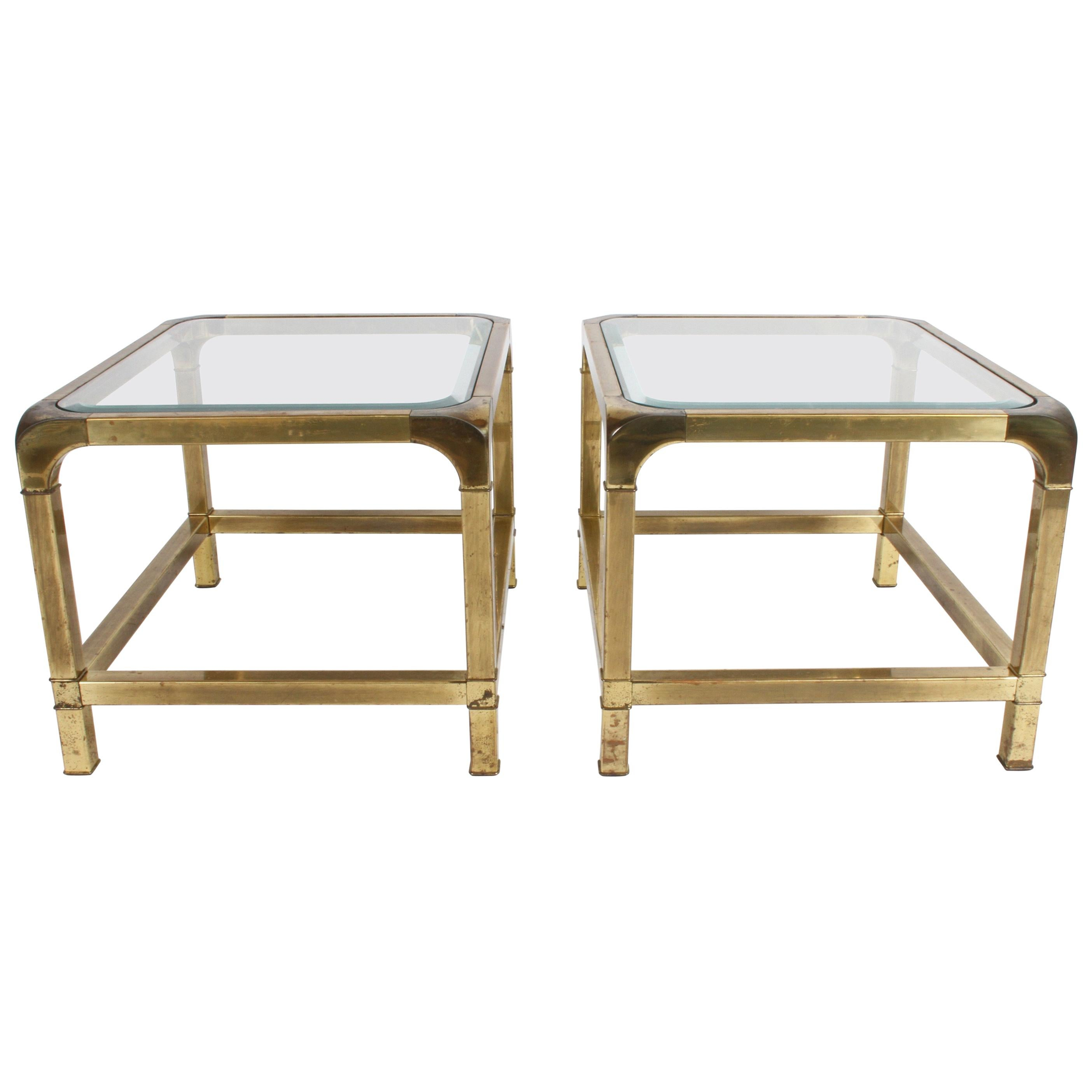 Pair of Mastercraft Mid-Century Brass End Tables