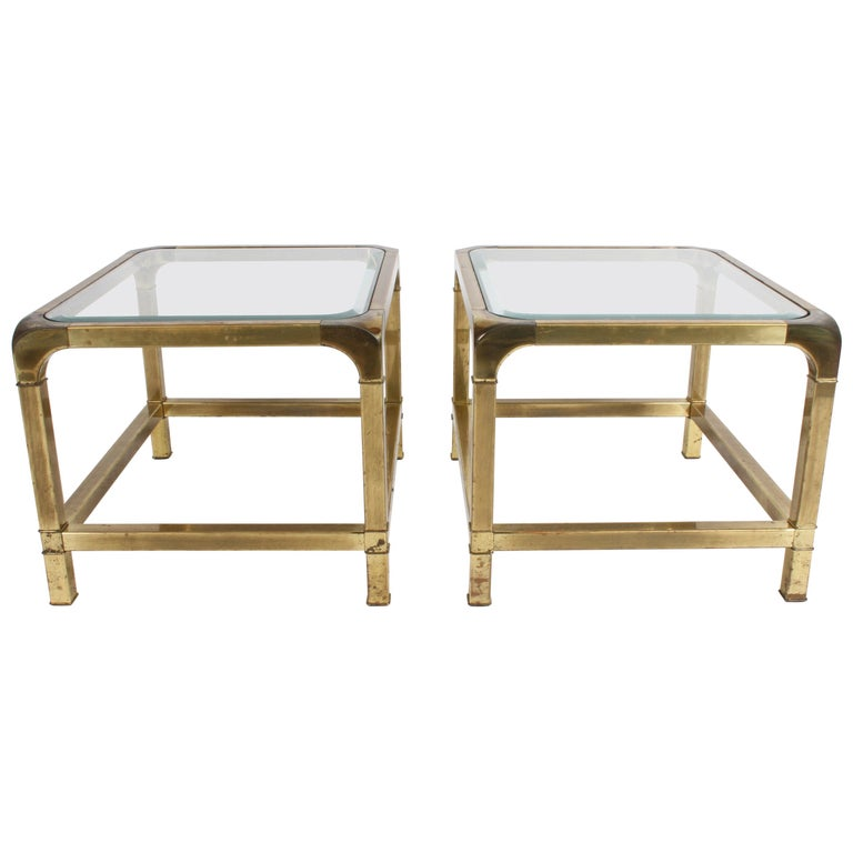 Pair of Mastercraft Mid-Century Brass End Tables For Sale