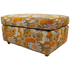 Mod Floral Print Ottoman Fabric Attributed to Jack Lenor Larsen