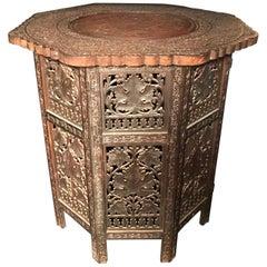 Hardwood Carved Moorish Style Octagon Side Table Tabouret