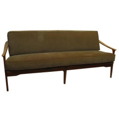 Midcentury Italian Sculpted Walnut Sofa and Pair of Armchairs Set, 1950s