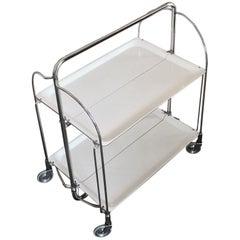German Midcentury White Folding Bar Cart
