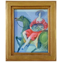Painting Woman on Horseback with Basket of Fish Vincenzo Calli  1987