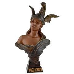 Emmanuel Villanis Walkyrie Art Nouveau Bronze Bust of a Woman with Helmet, 1900