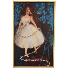 Large Midcentury Painting of the Ballerina Étoile Claude Bessy  France 1956