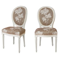Pair of Louis XVI Style Medallion Chairs, with Natural Linen Color Fabric