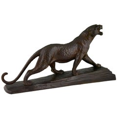 Art Deco Bronze Panther Skulptur von Louis Albert Carvin, 1920