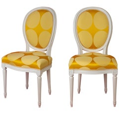 Pair of Louis XVI Style Medallion Chairs, with Modern Luxurious Yellow Fabric