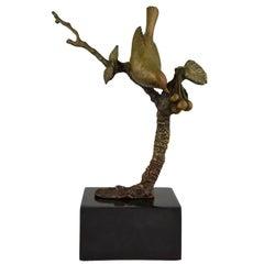 Art Deco Bronze Sculpture Bird on a Branch with Berries Irenée Rochard, 1930