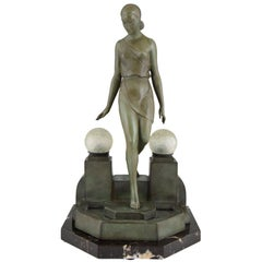 Art Deco Lamp with Lady Fayral, Pierre Le Faguays, Max Le Verrier Original, 1930