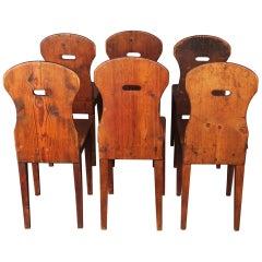 Rare Set of Six Swiss Alp Chairs