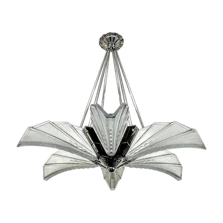 French Art Deco Chandelier Pendant by Atelier E.J.G For Sale
