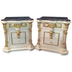 Majestic Baroque Bedside Commode in the Style of Louis XVI
