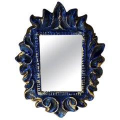 1960s François Lembo Ceramic Blue Ceramic Wall Mirror