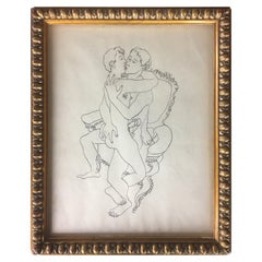 Erotic Art Ink Drawing Attributed to Jean Boullet