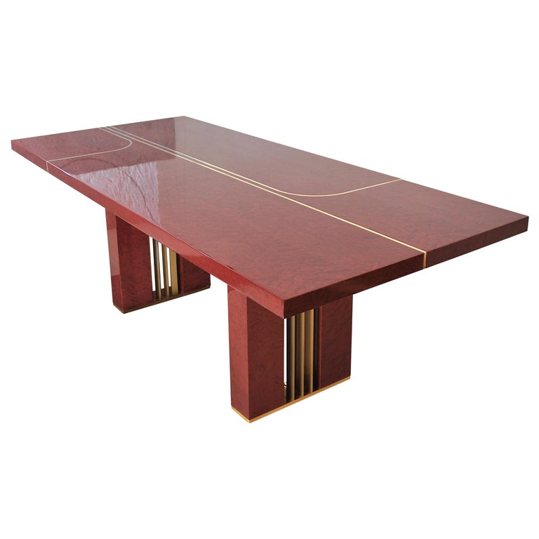 Midcentury Jean Claude Mahey Red Lacquered Wood and Brass French Table, 1980s For Sale