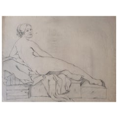 Original Drawing Nude Woman, French Unsigned on Aged Paper