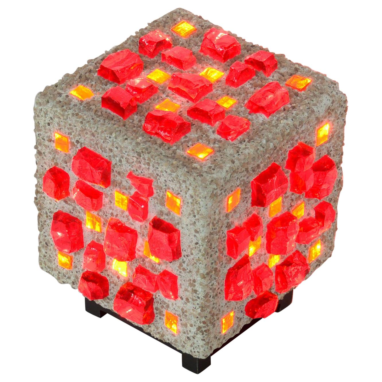 Brutalist Cube Table Lamp of the 1960s