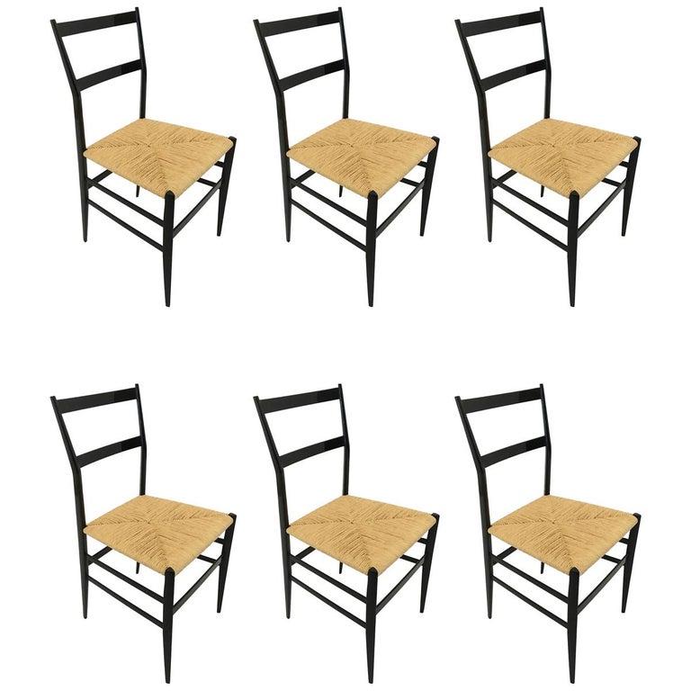 Gio Ponti Vintage Superleggera Set of Six Dining Chairs Cassina, Italy, 1958 For Sale