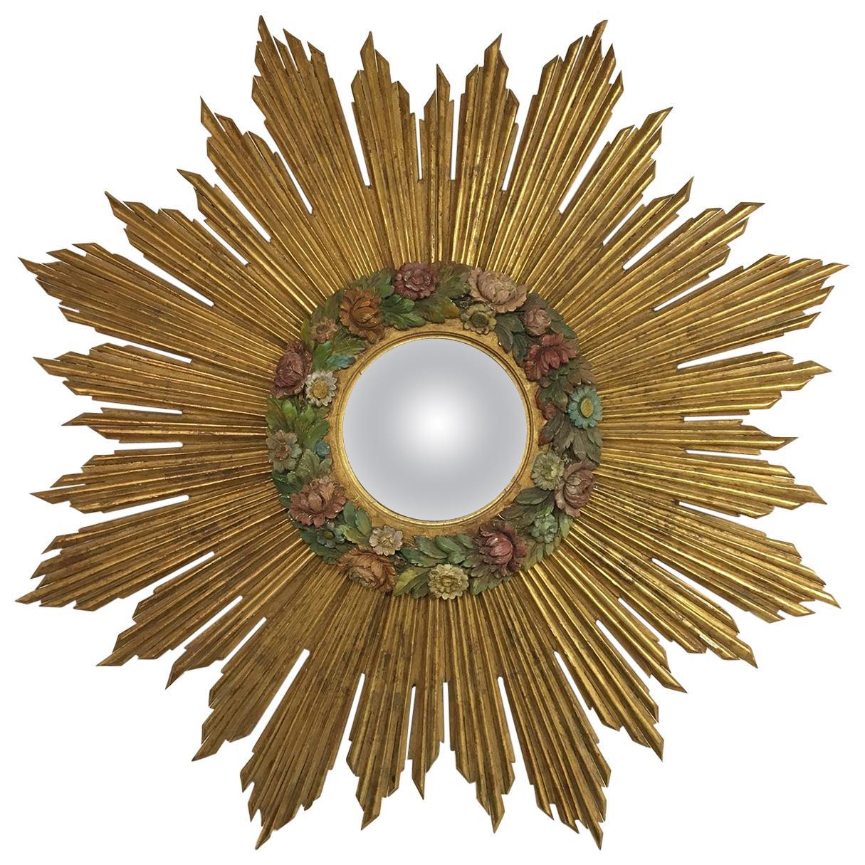 Antique Gold Sunburst Starburst Giltwood French Convex Gilded Barbola Mirror