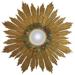 Antique Sunburst Starburst Giltwood French Convex Gilded Carved Barbola Mirror