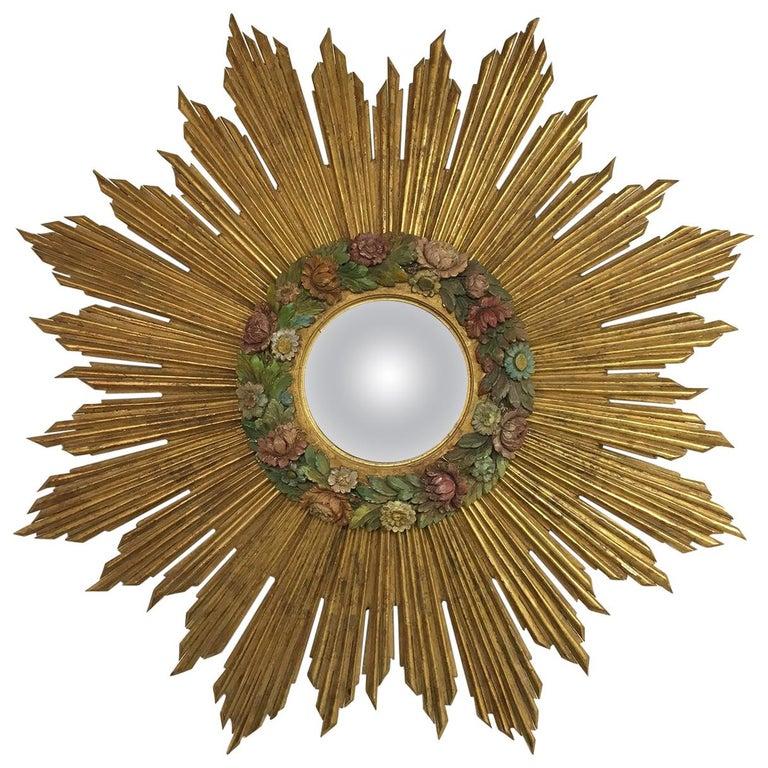 Antique Sunburst Starburst Giltwood French Convex Gilded Carved Barbola Mirror For Sale
