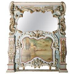 19th Century Belgian Painted Trumeau Mirror from a Gavioil Dance Organ