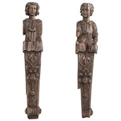 Late 17th-Early 18th Century Carved Wood Fireplace Jambs