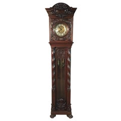 Neo Renaissance grandfather clock, circa 1870 with 2 columns