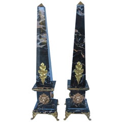 "Pair of Portoro Marble and Bronze Obelisks ""Gold Lion"", Limited Edition, 2018"