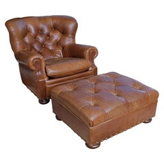 Super Luxe Ralph Lauren Tufted Leather Writer's Club Chair & Ottoman