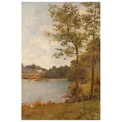"Pair of Romantic Paintings ""Lakeside Landscapes"", Oil on Canvas, 19th Century"