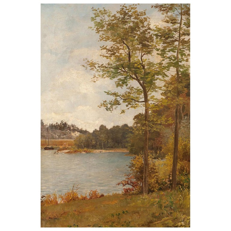 """Pair of Romantic Paintings """"Lakeside Landscapes"""", Oil on Canvas, 19th Century For Sale"""