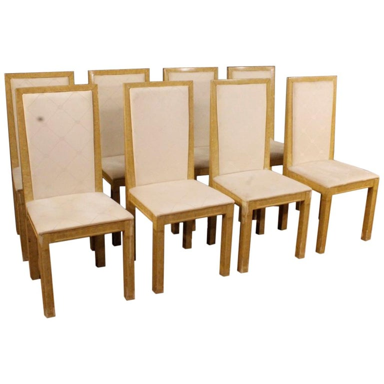 20th Century Lacquered and Painted Wood Italian 8 Chairs, 1970 For Sale