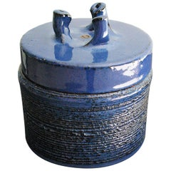 Rogier Vandeweghe Blue Ceramic Lidded Pot by Amphora