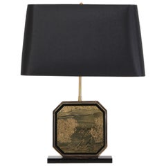 Hollywood Regency Table Lamp in 24-Karat Gold and Brass Etched Artwork by Maho