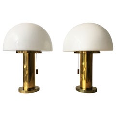 Glashütte Limburg Mushroom Table Lamp Satin Glass, Germany, 1970s