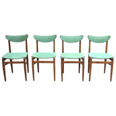 Set of 4 Fine French 1950s Elm Chairs