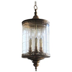 Early 20th Century Italian Cut Glass and Brass Cylindrical Three-Light Lantern