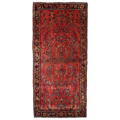 Handmade Antique Sarouk Style Runner, 1900s, 1B708