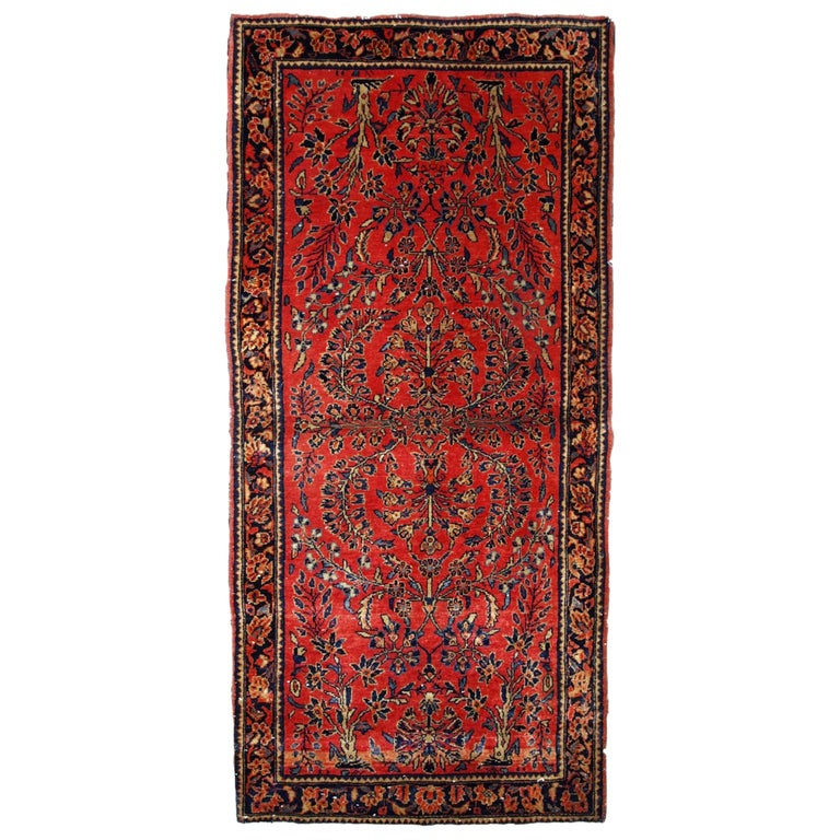 Handmade Antique Sarouk Style Runner, 1900s, 1B708 For Sale