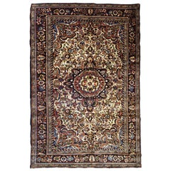 Handmade Antique Sarouk Style Rug, 1900s, 1B709