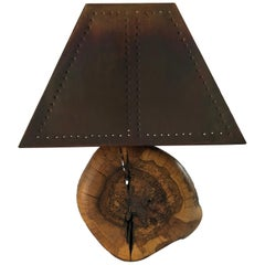 Sculptural Organic Burl Wood Lamp with Copper Shade