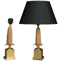Pair of Midcentury Lamps, in the Manner of Maison Charles