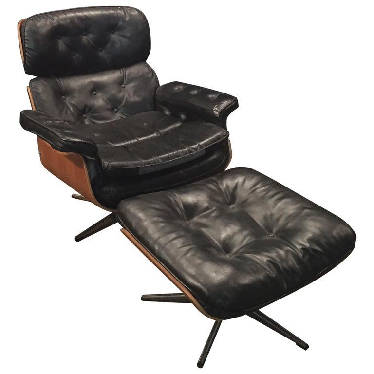 Relax Lounge Armchairs With Stool Vintage Eames Style