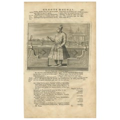 Antique Print of the 9th Mughal Emperor by Valentijn, 1726