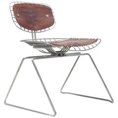 Michel Cadestin Beaubourg Chair in Galvanized Steel and Brown Leather
