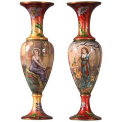 Rare Pair of Late 19th Century French Enamel Vases