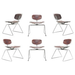 Beaubourg Wire Chairs by Michel Cadestin for Centre Pompidou Set of Six